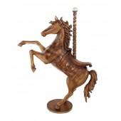 Karussell Pferd mit Sattel und Stange Antikgold