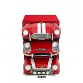 Regal mit roten AutoSchubladen