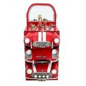Regal mit roten AutoSchubladen und Spiegel