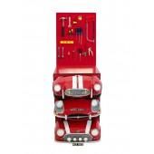 Regal mit roten AutoSchubladen und Werkzeugfür Wand