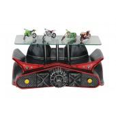 Wandregal Batmobil mit Flügeln Schwarz Rot mit Glasplatte