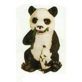 Pandabär mit Kind frisst Bambus