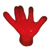 rote große Hand als Hocker