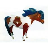 Pony braun weiß gefleckt mit schwarzer Mähne