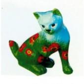 sitzendes Kätzchen mit Mohn bemalt