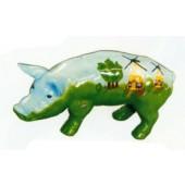 kleines Schwein bemalt mit Windmühlen