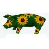Schweinchen mit Sonnenblumen bemalt