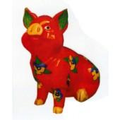 rotes Schwein sitzend klein mit Veilchen bemalt