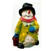 Schneemann klein mit Hut und Mantel