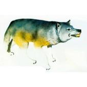 lebensgroßer Wolf mit fletschenden Zähnen