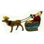 kleiner Weihnachtsmann im Schlitten mit Rentier