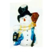 kleiner Schneemann mit Besen und Laterne