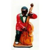 dunkelhäutiger Kontrabassist Jazz mittel