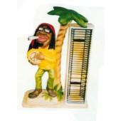 Jamaikaner mit Trommel und Joint neben CD-Regal