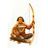 sitzender Indianer mit Wolf und Bogen Variante 2