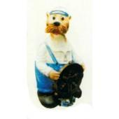 freundliche Robbe als Seemann mit Steuerrad