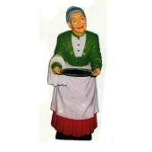 Oma als Kellnerin mit Tablett klein