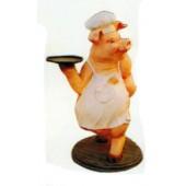 Schwein mit Schürze als Kellnerin
