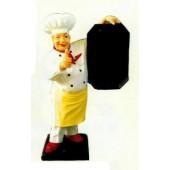 Chefkoch mit Daumen oben und Tafel mittel