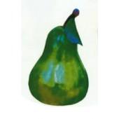grüne Birne mit Stamm und Blatt mittel