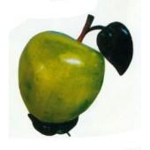 grüner Apfel mit Stamm und Blatt mittel