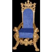 königlicher Thron mit blauem Bezug