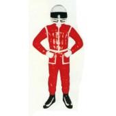 Rennfahrer klein im roten Anzug