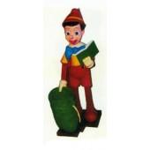 großer Pinocchio mit Buch und Sack