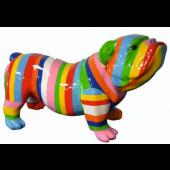 Bulldogge bunt gestreift