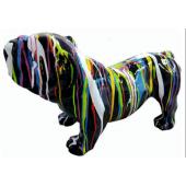 Bulldogge mit buntem Farbverlauf