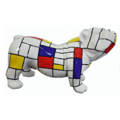 Bulldogge mit bunten Kästchen