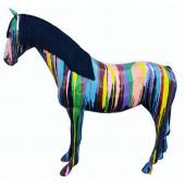 Pferd mit Echthaar schwarz mit Farbverlauf