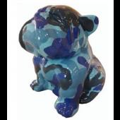 Hund Bulldogge sitzend camouflage