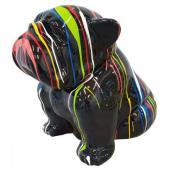 Hund Bulldogge sitzend schwarz mit Farbverlauf