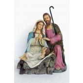 Heilige Familie hockend mit Josef, Maria und Jesuskind in Krippe