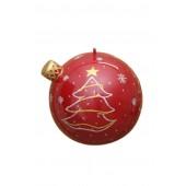 Rot glänzende Weihnachtskugel mit Wintermotiv