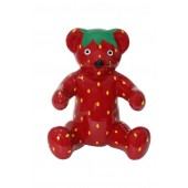 Sitzender Teddy im Erdbeerdesign