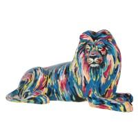 liegender Löwe künstlerisch bunt bemalt