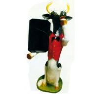 sitzende Kuh mit Angebotstafel