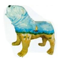 Englische Bulldogge bemalt mit Meereslandschaft