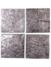alte Holzwandplatten Silber 4er Set