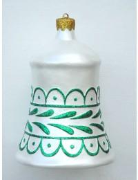 große Weihnachtskugel in Glockenform Silber-Grün