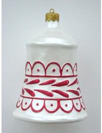 kleine Weihnachtskugel in Glockenform Silber-Rot