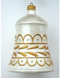 kleine Weihnachtskugel in Glockenform Silber-Gold