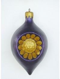 große Weihnachtskugel in Blütenform Lila-Gold
