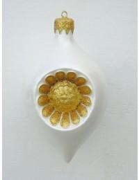 kleine Weihnachtskugel in Blütenform Silber-Gold