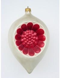 kleine Weihnachtskugel in Blütenform Silber-Rot