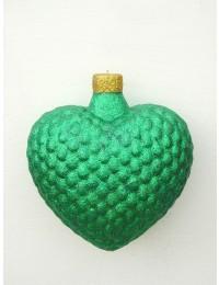 große Weihnachtskugel in Herzform Grün glitzernd