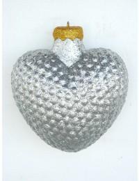 große Weihnachtskugel in Herzform Silber glitzernd