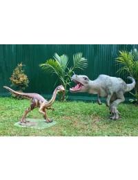 Dinosaurier Utahraptor und Tyrannosaurus klein